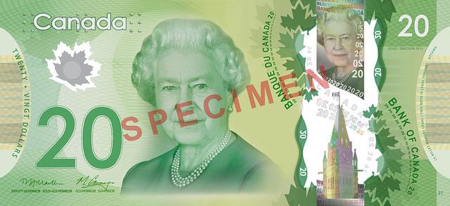20 канадских долларов (аверс)