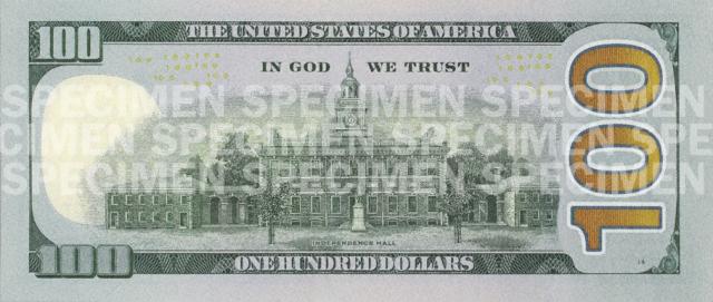 100 долларов США серия 2009 года нового образца (оборотная сторона).