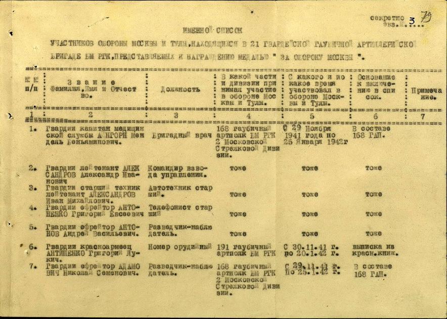 """Представление к награждению медалью """"За оборону Москвы"""" (1-й лист)"""