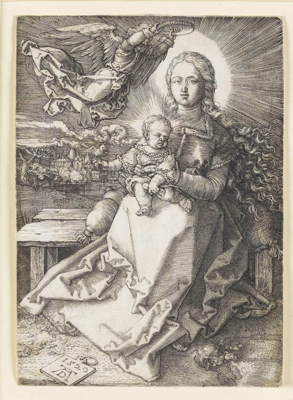 Коронованная ангелом Дева Мария. Гравюра Альбрехта Дюрера.
