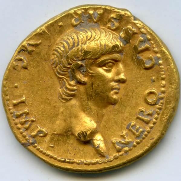 Ауреус Нерона. 56-57 р.р. Н.Е. Аверс. Збільшене зображення.